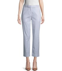 lacoste women's striped stretch-cotton pants - blue - size 40 (m)
