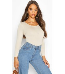 basic round neck long sleeve top, stone