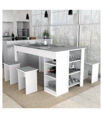 mesa de jantar c/ 4 bancos appunto con4005 enjoy 6 prateleiras