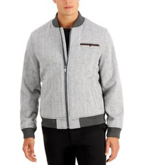 tasso elba men's herringbone bomber jacket, created for macy's