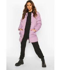 hooded longline parka, lilac