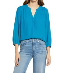 women's nydj pintuck blouse, size x-small - blue