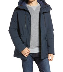 men's save the duck smeg water resistant hooded parka, size x-large - black