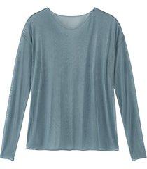 licht transparent shirt met lange mouwen uit bio-zijde met v-hals, oceaan 46