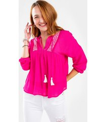 amelia embroidered blouse - fuchsia
