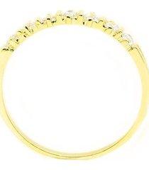 anel meia alianca semijoia banho de ouro 18k cravacao de zirconia - feminino