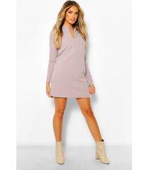 loshangende jurk met lange mouwen en v-uitsnijding, grijs