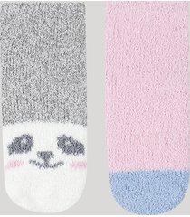 kit de 2 meias de inverno infantil em chenille cano médio panda multicor