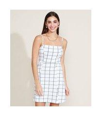 vestido feminino estampado quadriculado alça fina decote reto off white