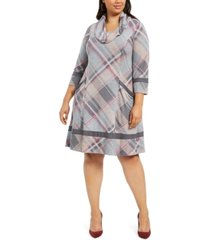 robbie bee plus size plaid cowlneck sweater dress