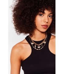 womens crossed a line layered charm necklace - gold