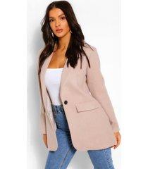 wool look single button jacket, stone