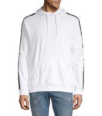 logo tape fleece hoodie
