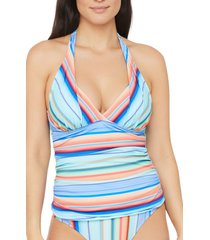 women's la blanca sunset stripe halter tankini top