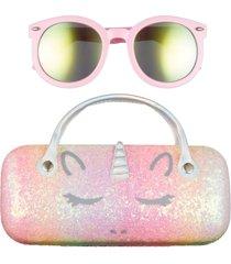 girl's capelli new york unicorn sunglasses & case set - pale multi