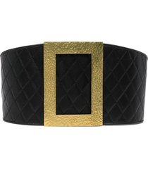 chanel pre-owned 1994 diamond-quilted oversized buckle belt - black