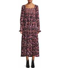 free people women's sweet escape print dress - black combo - size s