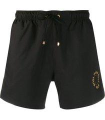boss logo-print swim shorts - black