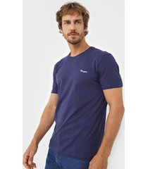 camiseta wrangler logo bordado azul-marinho - kanui