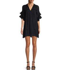 allison new york women's embroidered shift dress - black - size xs