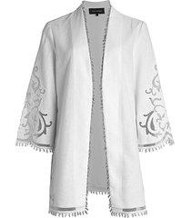 kobi halperin women's lucille linen beaded jacket - black - size m