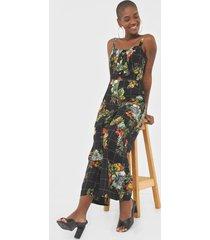 macacã£o dress to pantacourt benta preto/verde - preto - feminino - viscose - dafiti