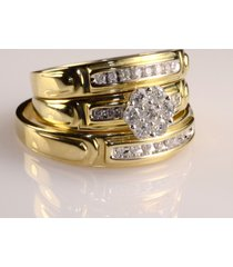 0.30ctw round simulated diamond 14k yellow gold over trio his-her wedding ring