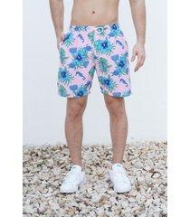 pantaloneta rosa flores maui surf
