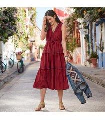 sundance catalog women's zura dress in red dahlia medium