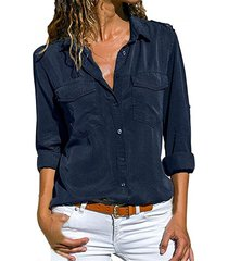 nueva llegada 2019 blusa mujeres sólido camisa de manga larga casual-azul