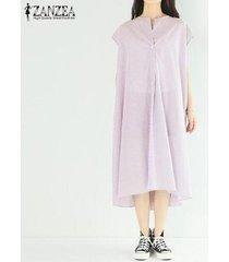 zanzea las mujeres de manga corta de verano sundress largo ocasional camisa de vestir de vestido a media pierna raya -rojo