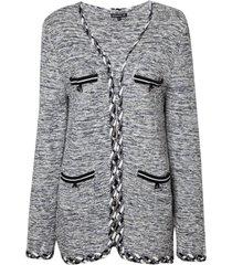 cardigan dudalina manga longa tricot mescla feminino (off white, gg)