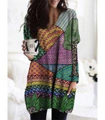 camicetta con scollo a v manica lunga stampa multicolore per donna