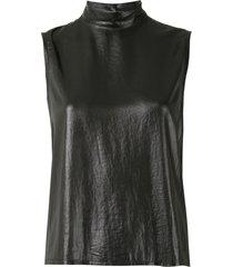 ann demeulemeester coated blouse - black