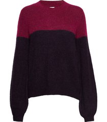 maville knit two colored o-neck gebreide trui multi/patroon second female