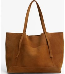 mango women's leather shopper bag