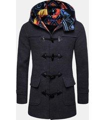 giacca da uomo con cappuccio con fibbia in corno di media lunghezza sottile trench in lana casual aderente
