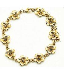 pulsera floral dorado i-d