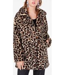 coffeeshop juniors' leopard-print faux-fur coat