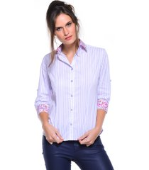 camisa intens manga 3/4 algodão listrado roxa - kanui