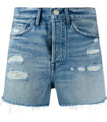 3x1 jayson ripped detail shorts - blue