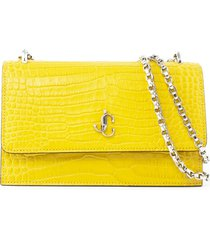 jimmy choo dark sun croc-embossed leather clutch bag