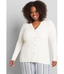 lane bryant women's ribbed button-front cardigan 18/20 white