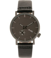 simplify quartz the 3600 charcoal dial, genuine black leather watch 40mm