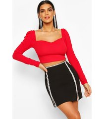 crepe sweetheart long sleeve top, fire red