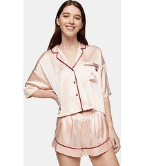 pink pyjama satin shorts set - pink