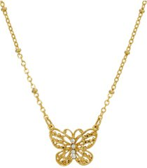 2028 women's gold tone crystal accent petite filigree butterfly pendant necklace