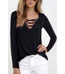 black casual v-neck lace-up design long sleeves t-shirts