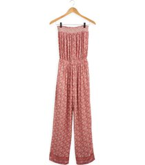 women's faherty renata strapless smocked jumpsuit, size small - pink