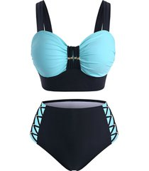 plus size beading colorblock crisscross tankini swimwear
